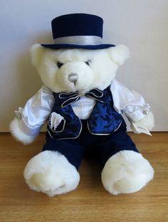 WALMART 2000 SNOWFLAKE TEDDY BEAR BOY NAVY BLUE OUTFIt, TOP HAT, VERY RARE #Walmart #Christmas