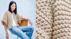 The beige jacket in garter st - Knitting 02 Garter Stitch, Knit Jacket, Merino Wool Blanket, Knitted Fabric, Crochet Top, Free Pattern, Knitting Patterns, Assemblage, Gilets