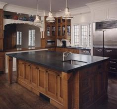 This custom kitchen is fabricated with quarter sawn white oak all of the drawers are dovetailed maple with a soft close full extension slide. White Oak Kitchen, New Kitchen, Custom Kitchens, Luxury Kitchens, Oak Kitchens, Dark Oak Cabinets, Cupboards, Diy Kitchen Decor, Kitchen Ideas