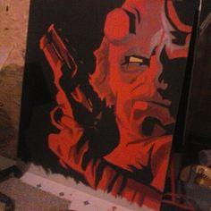 large hellboy painting
