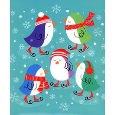"""Birds Skating Calendar Wrapper: Gift wrap in seconds with this handy gift wrap envelope featuring colorful, ice-skating penguins. Fits any calendar up to 12.5"""" x 14.5"""". Gift wrapping has never been this easy!  http://www.calendars.com/Bird-Art/Birds-Skating-Calendar-Wrapper/prod201300012040/?categoryId=cat00177=cat00177#"""