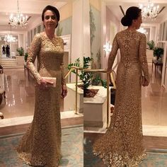Awesome Evening dresses Gold Lace Mother Of The Bride Dresses Elegant Long Sleeve Evening Dress Hot Sale...