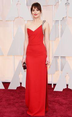 Dakota Johnson In Saint Laurent at the 2015 Academy Awards.