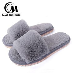 a563f40a613 2018 Womens Fur Slippers Winter Shoes Big Size Home Slipper Plush Pantufa  Women Indoor Warm Fluffy Terlik Cotton Shoe tries ZJ-MM Free Shipping to  all ...