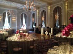 Lit up letters of the couples initials in the Ballroom. #Wedding