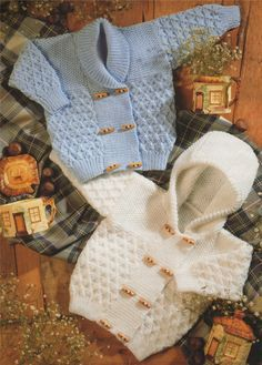 PDF Baby / Toddler Hooded Jacket & Cardigan Knitting Pattern : 18 - 26 inch chest . Boy or Girl . Hoodie . Duffle Style . DK Yarn Pattern by PDFKnittingCrochet on Etsy