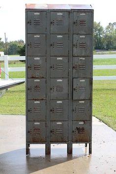 This old locker was found in a back corner of an old barn. It was extremely hard to imagine reviving this locker unit. Vintage Lockers, Metal Lockers, Repurposed Lockers, Painted Cupboards, Painted Drawers, Locker Furniture, Dump Furniture, Bathroom Storage Shelves, Locker Storage