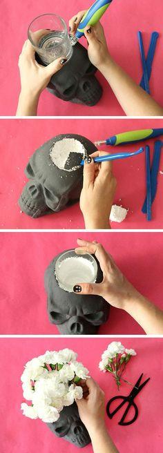 Halloween decor,  DIY decor, DIY Halloween decor, indoor decor, outdoor decor, skulls, vase, flowers, holder, centerpiece, Halloween party,  Styrofoam,  DIY vase, spray paint skull, carve out vase holder, Halloween #afflink
