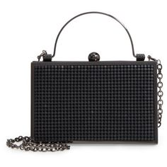 Women's Whiting & Davis Bond Street Mesh Box Clutch ($225) ❤ liked on Polyvore featuring bags, handbags, clutches, matte black, metallic clutches, metallic purse, metallic box clutch, metallic handbags and mesh handbags