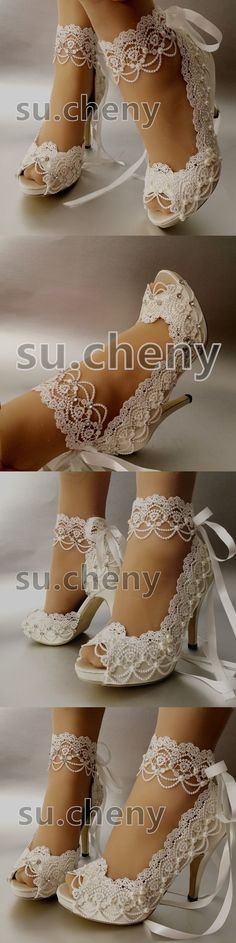 "Bridal Shoes 105471: 3 4"" Heel White Ivory Satin Lace Ribbon Open Toe Wedding Shoes Bride Size 5-11 -> BUY IT NOW ONLY: $59.99 on eBay!"