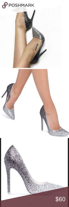 faux-leather/glitter in black/gunmetal Glamorous pump featuring a stunning ombré of glitter Shoes Heels