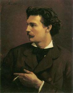 Anselm Feuerbach. Selbstbildnis (Self-portrait)  1829-1880.  A leading German classicist painter.