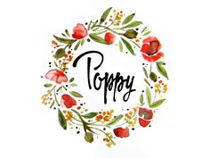 Poppy by aramisdream #watercolor #calligraphy #lettering #typo #poppies #flowers #pen #ink #stylus #summer #spring #handrawn #garland #watercolors #leaf #leaves #poppy #foliage