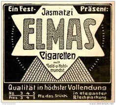 Original-Werbung/ Anzeige 1909 - JASMATZI ELMAS CIGARETTEN - ca. 80 x 75 mm