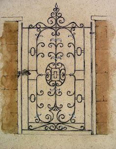 """Watercolor and pencil on paper artist rendering of a design for a wrought iron gate. Unframed. Edge wear, adhesive residue on reverse, 7.75"""" L x 11"""" H"""