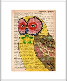 owl print - owl art print - vintage dictionary print - book page art print - vintage home decor. $10.00, via Etsy.