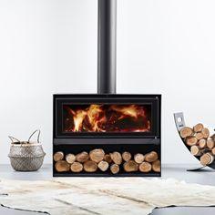 Scandia-Styliste-Woodbox-10-A-HR Wood Burner Fireplace, Modern Fireplace, Fireplace Design, Modern Wood Burning Stoves, Log Burner, New Home Designs, Modern House Design, Home Remodeling, Decoration