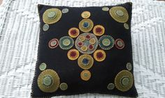 penny rug pillow