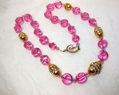 Vintage ART Deco PINK Crystal and Gold tone by JewlsinBloom