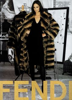 1995 Fendi fur ad with Ines Rivero Ad Fashion, Fashion Prints, Couture Fashion, Vintage Fashion, Fashion Guide, Fendi Fur Coat, Dragonfly Clothing, Ines Rivero, Chinchilla Fur Coat