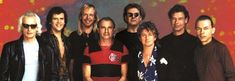 Yes Union lineup 1990 L-R: Kaye, Rabin, Wakeman, White, Squire, Anderson, Bruford, Howe