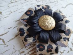 Leopard Hair Bow Gold with Glitter Leopard by marimaricollection