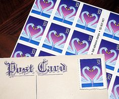 Swan Postcards  Unused Vintage Postage Stamps enough to mail 20 postcards sold by TreasureFox, $14.00