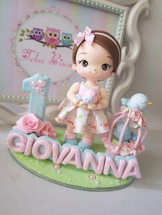 Cake Topper Tutorial, Fondant Tutorial, Fondant Cake Toppers, Fondant Figures, Baby Cakes, Diy Shrink Plastic Jewelry, 1 Year Old Cake, Girl Birthday Decorations, Rainbow Food