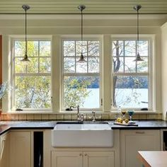 Traditional Home Kitchen Windows Design, Pictures, Remodel, Decor and Ideas 6 over 1 single hung windows house window double hung Farmhouse Sink Kitchen, New Kitchen, Kitchen Decor, Farm Sink, Kitchen Ideas, Rustic Farmhouse, Kitchen Sinks, Farmhouse Trim, Beige Kitchen