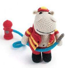 Herry the fireman hippo amigurumi pattern by Lia Arjono