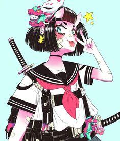Kawaii Anime Girl, Anime Art Girl, Manga Art, Cyberpunk Anime, Arte Cyberpunk, Anime Shop, Character Art, Character Design, Cute Art Styles