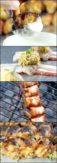 Bacon-Wrapped BBQ Stuffed Shrimp #GrillGatingHero #GrillGating #ad Grilling Recipes, Fish Recipes, Seafood Recipes, Appetizer Recipes, New Recipes, Amazing Recipes, Appetizers, Stuffed Shrimp, Stuffing Ingredients