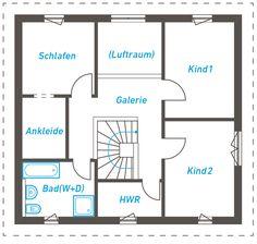 Die luftige Raumaufteilung des Edita 137 mit den getrennten Wohn- und Arbeitsbereichen erlaubt eine flexible Alltagsgestaltung für die ganze Familie. Ein besonderes Highlight des Hauses ist die Galerie mit Blick auf das darunterliegende Wohn- und Esszimmer.