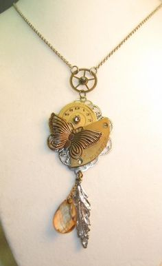 Tri-color Steampunk Butterfly Necklace | TimelessDesigns - Jewelry on ArtFire