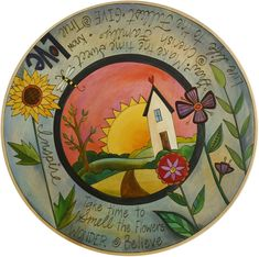 Sticks Handmade lazy susan with inspiring words, flowers and a heart home on the horizon Lazy Susan, Ceramic Painting, Painting On Wood, Circle Painting, Sticks Furniture, Arte Country, Hand Painted Furniture, Home Art, Glass Art