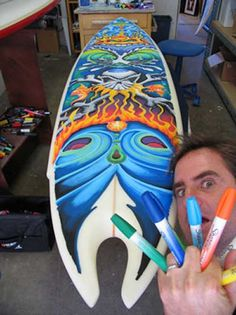 Want to learn to surf but don't know where to start? Surfing lessons are all about taking your surfing to the next level regardless of how much experience -- or lack thereof -- you may have. Surfboard Painting, Surfboard Art, Skateboard Art, Tiki Tattoo, Posca Art, Sharpie Art, Arte Popular, Paint Pens, Paint Markers