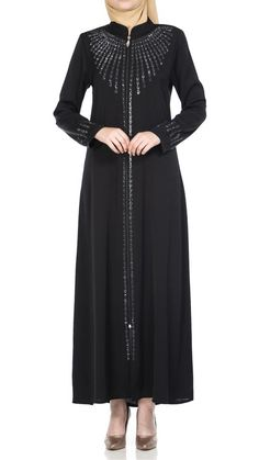 Butikzade - Damla Ferace DF-1041-01-Siyah Black Abaya, Muslim Fashion, The Dress, Cold Shoulder Dress, Dresses With Sleeves, Long Sleeve, Embroidery, Gowns With Sleeves, Dresses