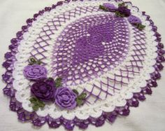 Items similar to crocheted oval doily delf blue and white  handmade on Etsy