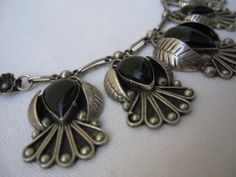 70s sterling silver Mexican Necklace with Black Onyx Birds