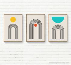"""""""Set of 3 Minimalist Print, Yellow Orange Turquoise Print Set, Gray Black Rainbow Wall Art Set of 3, Arches Circles SemiCircles Nursery Print A selection of our artworks now available as Printed and Shipped. The listing is for 3 (three) original artworks printed on an High-Quality Matte Paper (190 g/m²) with Giclée printing quality. To order simply select the size from the drop-down menu and add the prints to the cart. After purchase your prints will be carefully packaged and shipped as soon as Orange And Turquoise, Yellow, Rainbow Wall, Wall Art Sets, Nursery Prints, Abstract Wall Art, Printable Art, Printables, Artwork Prints"""