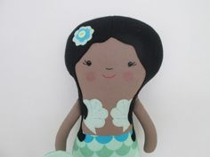 I LOVE THESE DOLLS! African American Mermaid Softie with Mint Green and by BrioTrio, $40.00
