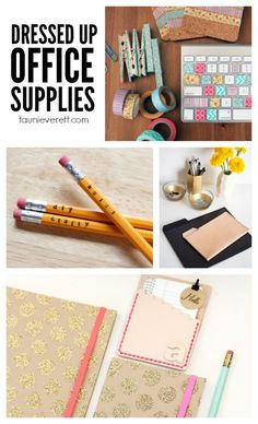 10 chic ways to dress up basic office supplies. Perfect for a girlfriend gift or a home office.