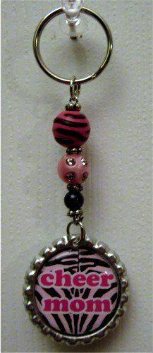 Pink Cheer Mom  Bling Key Chain