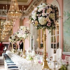 Gorgeous decor at real wedding, at Danesfield House. #tablescape