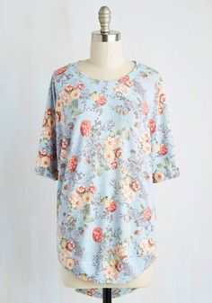 Best of Botanical Floral Top in Sky - Blue, Multi, Floral, Print, Casual, Fairytale, 3/4 Sleeve, Knit, Best, Variation, Crew, Lounge, Long, Spring, Summer