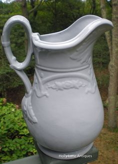 Early English White Ironstone Ewer / Pitcher by 4HollyLaneAntiques, $325.00