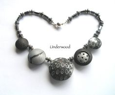Polymer Hollow 5 Assorted Bead Necklace by UnderwoodPolymerArt