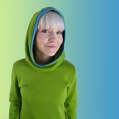 T-Shirts & Sweatshirts - Hoodie grün türkis - ein Designerstück von JAQUEEN-handmade-streetwear-berlin bei DaWanda