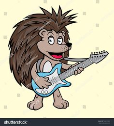 Hedgehog with a guitar. vector illustration