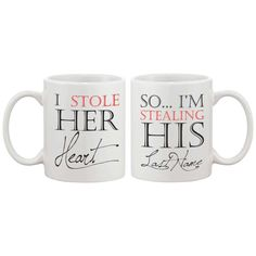I Stole Her Heart, So I'm Stealing His Last Name Couple Mugs - His and Hers Matching Coffee Mug Cup Set - Wedding Gift, White (Ceramic, Textured)